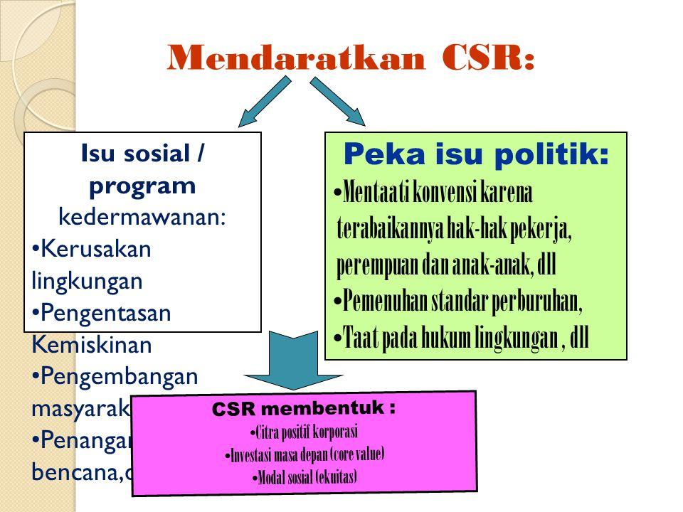 Mendaratkan CSR: Isu sosial / program kedermawanan: Kerusakan lingkungan Pengentasan Kemiskinan Pengembangan masyarakat Penanganan bencana,dll Peka is