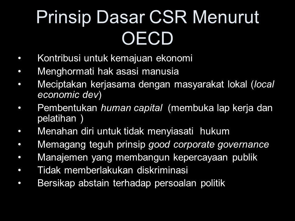 Prinsip Dasar CSR Menurut OECD Kontribusi untuk kemajuan ekonomi Menghormati hak asasi manusia Meciptakan kerjasama dengan masyarakat lokal (local eco