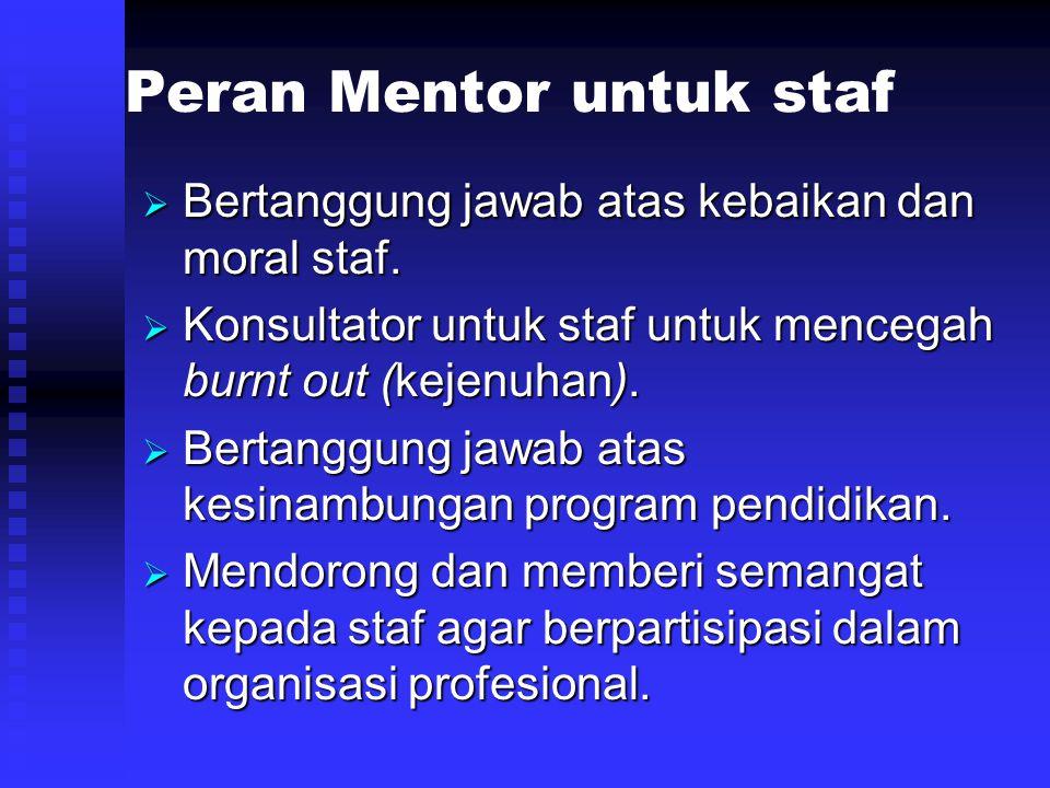 Peran Mentor untuk staf  Bertanggung jawab atas kebaikan dan moral staf.  Konsultator untuk staf untuk mencegah burnt out (kejenuhan).  Bertanggung