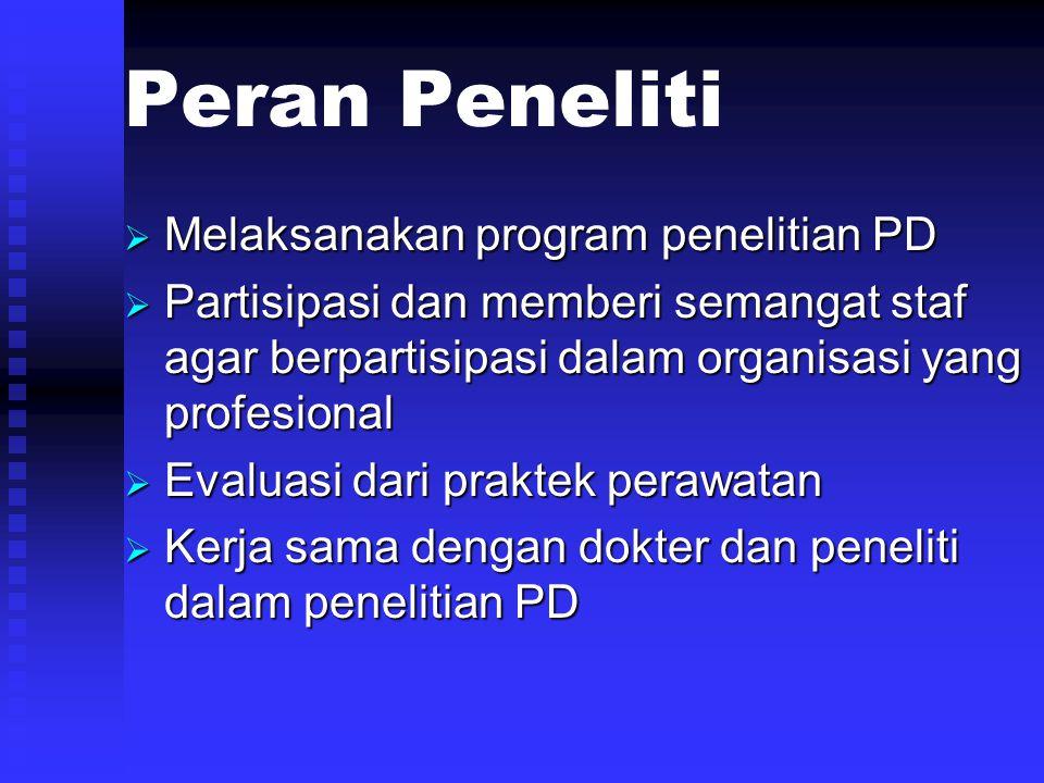 Peran Peneliti  Melaksanakan program penelitian PD  Partisipasi dan memberi semangat staf agar berpartisipasi dalam organisasi yang profesional  Ev