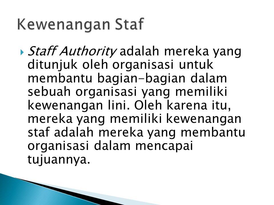  Staff Authority adalah mereka yang ditunjuk oleh organisasi untuk membantu bagian-bagian dalam sebuah organisasi yang memiliki kewenangan lini. Oleh