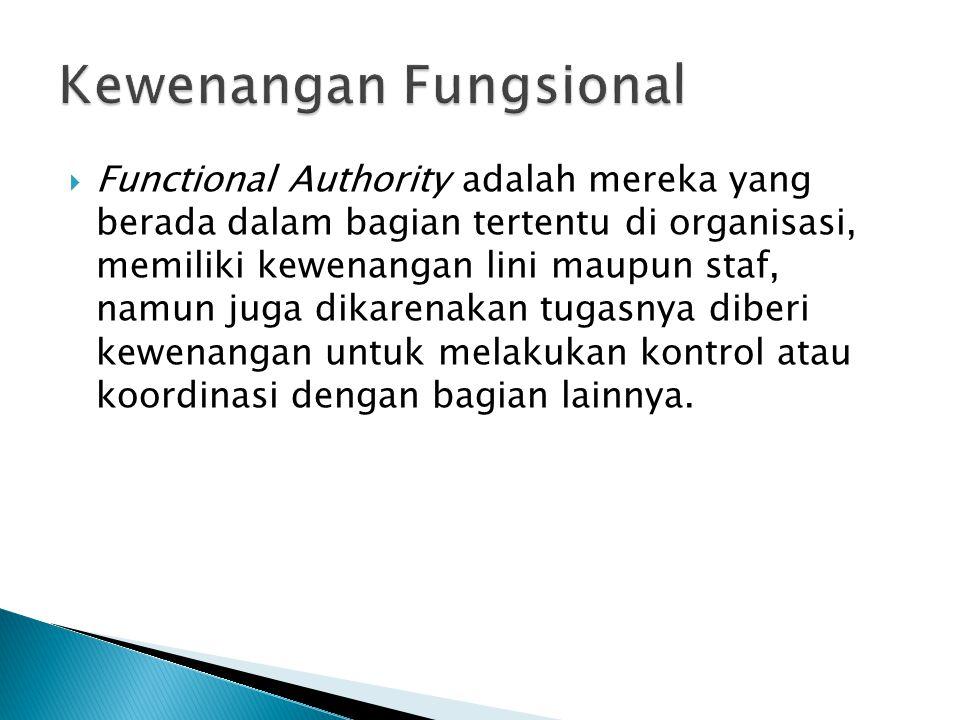  Functional Authority adalah mereka yang berada dalam bagian tertentu di organisasi, memiliki kewenangan lini maupun staf, namun juga dikarenakan tug