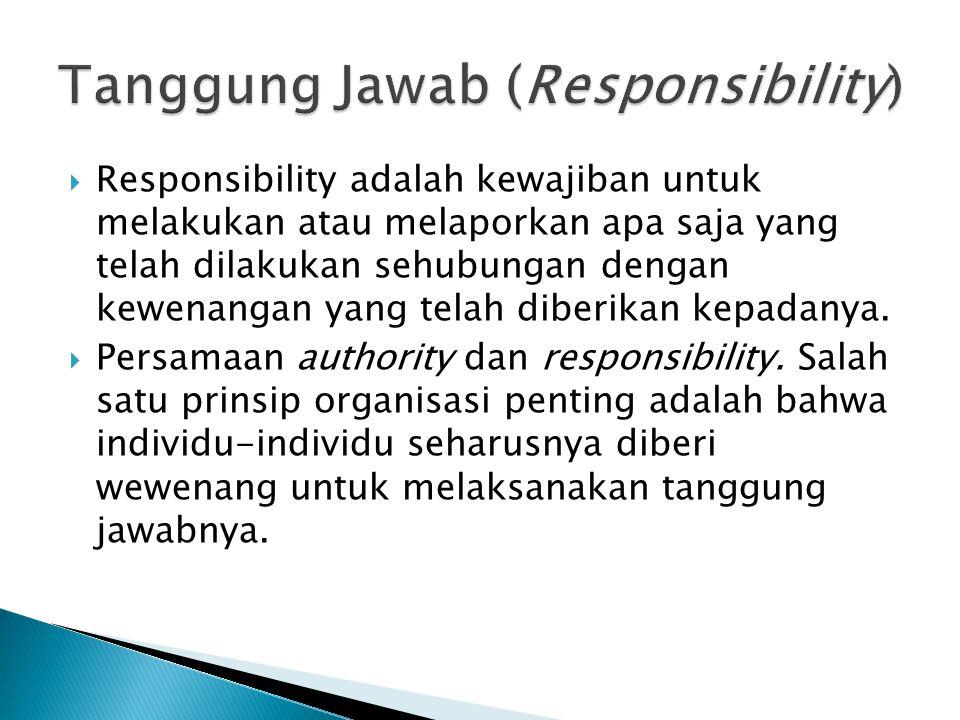  Responsibility adalah kewajiban untuk melakukan atau melaporkan apa saja yang telah dilakukan sehubungan dengan kewenangan yang telah diberikan kepa