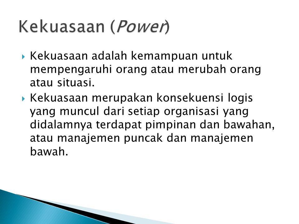  Kekuasaan adalah kemampuan untuk mempengaruhi orang atau merubah orang atau situasi.  Kekuasaan merupakan konsekuensi logis yang muncul dari setiap