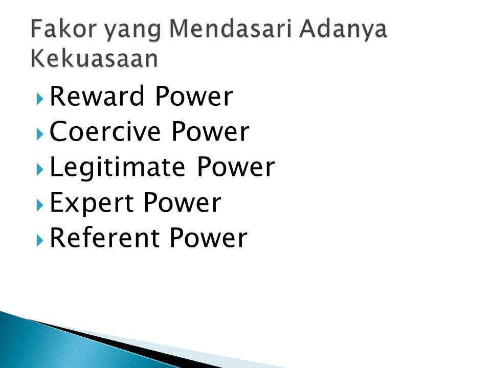  Reward Power atau kekuasaan untuk memberikan penghargaan adalah kekuasaan yang muncul sebagai akibat dari seseorang yang posisinya memungkinkan dirinya untuk memberikan penghargaan terhadap orang- orang yang berada dibawahnya.