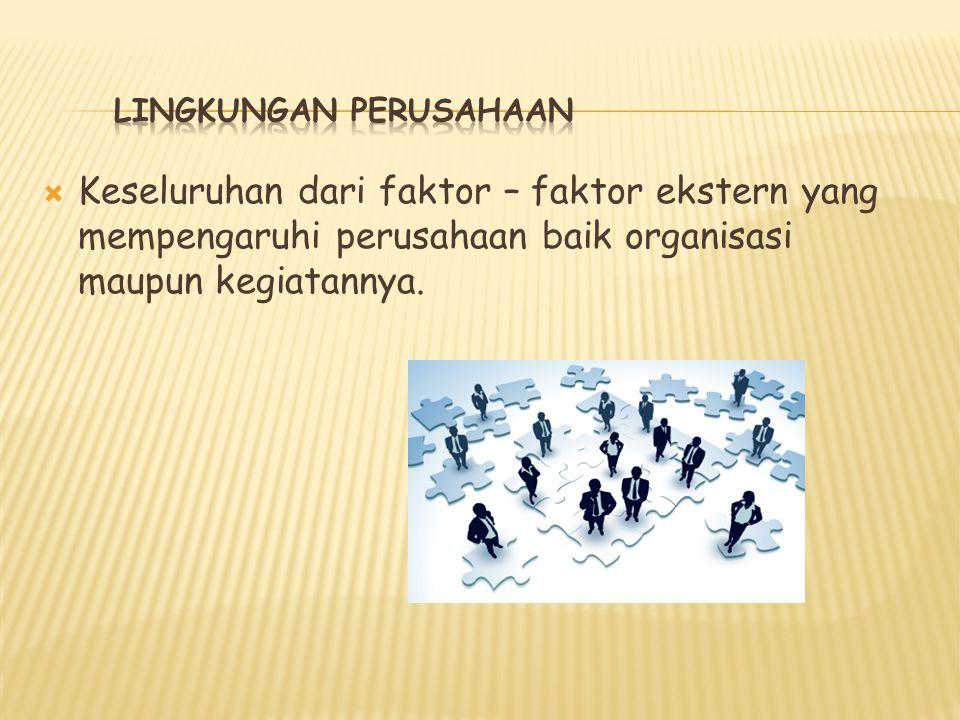  Keseluruhan dari faktor – faktor ekstern yang mempengaruhi perusahaan baik organisasi maupun kegiatannya.