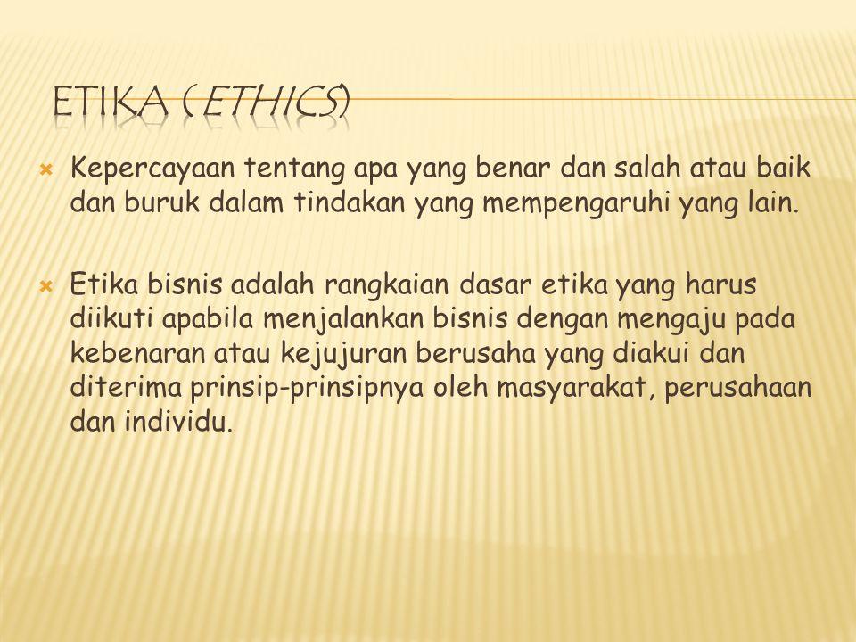  Kepercayaan tentang apa yang benar dan salah atau baik dan buruk dalam tindakan yang mempengaruhi yang lain.