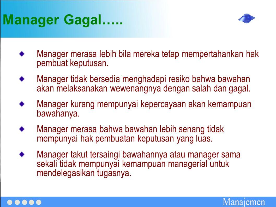 Manager Gagal….. Manager merasa lebih bila mereka tetap mempertahankan hak pembuat keputusan. Manager tidak bersedia menghadapi resiko bahwa bawahan a