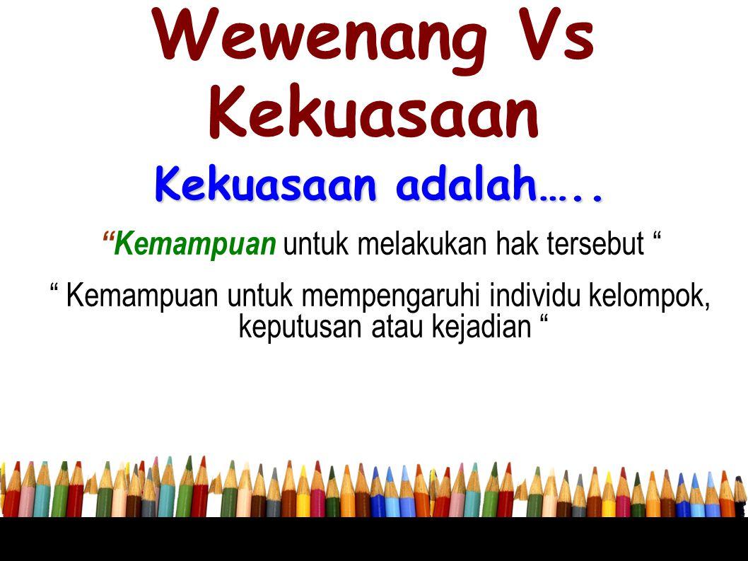 """Wewenang Vs Kekuasaan Kekuasaan adalah….. """"Kemampuan untuk melakukan hak tersebut """" """" Kemampuan untuk mempengaruhi individu kelompok, keputusan atau k"""