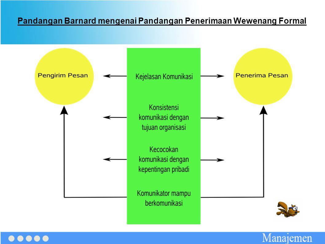 Pandangan Barnard mengenai Pandangan Penerimaan Wewenang Formal