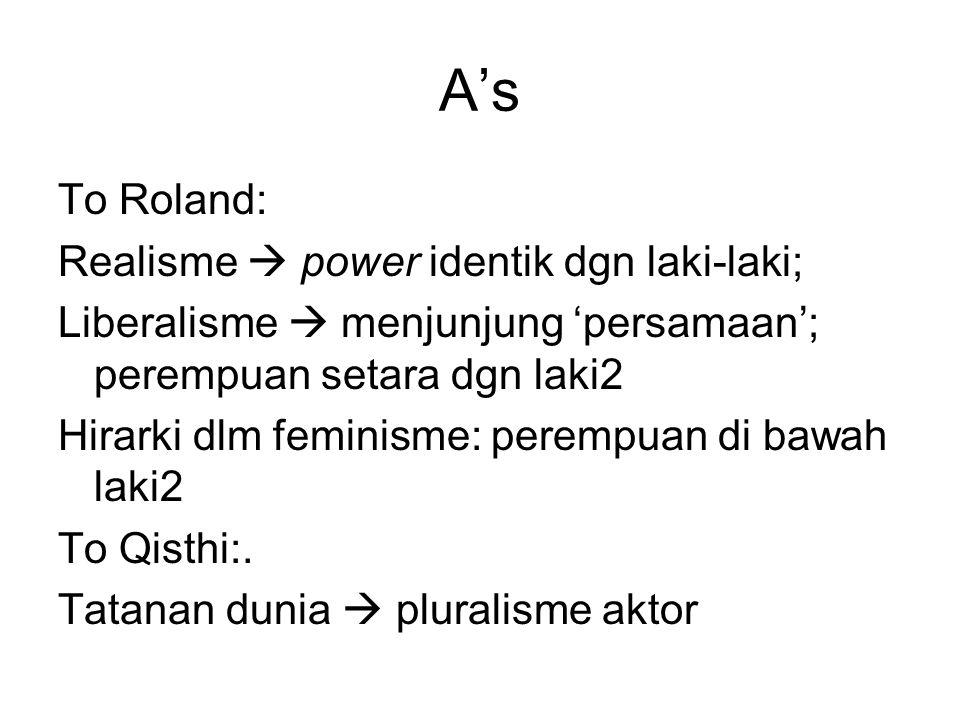 A's To Roland: Realisme  power identik dgn laki-laki; Liberalisme  menjunjung 'persamaan'; perempuan setara dgn laki2 Hirarki dlm feminisme: perempu