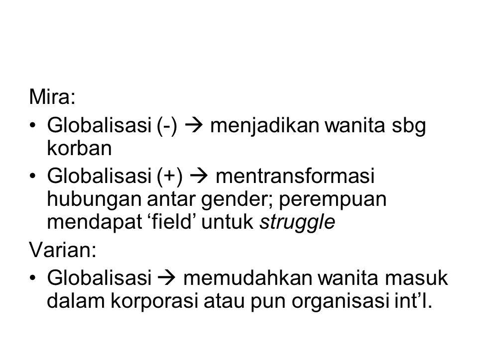 Mira: Globalisasi (-)  menjadikan wanita sbg korban Globalisasi (+)  mentransformasi hubungan antar gender; perempuan mendapat 'field' untuk struggl
