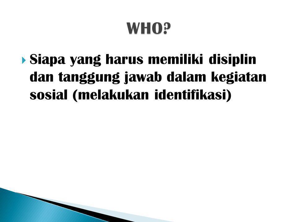  Siapa yang harus memiliki disiplin dan tanggung jawab dalam kegiatan sosial (melakukan identifikasi)
