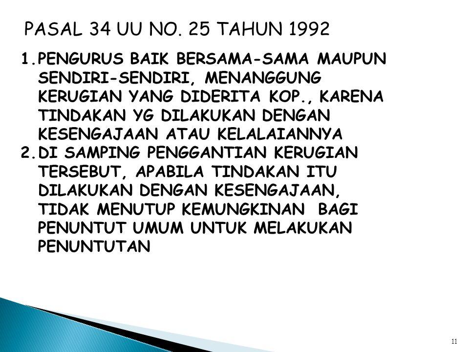 10 PASAL 33 UU NO, 25 TAHUN 1992 HUBUNGAN ANTARA PENGELOLA USAHA SEBAGAI MANA DIMAKSUD DALAM PASAL 32 DENGAN PENGURUS KOP. MERUPAKAN HUB.KERJA ATAS DA