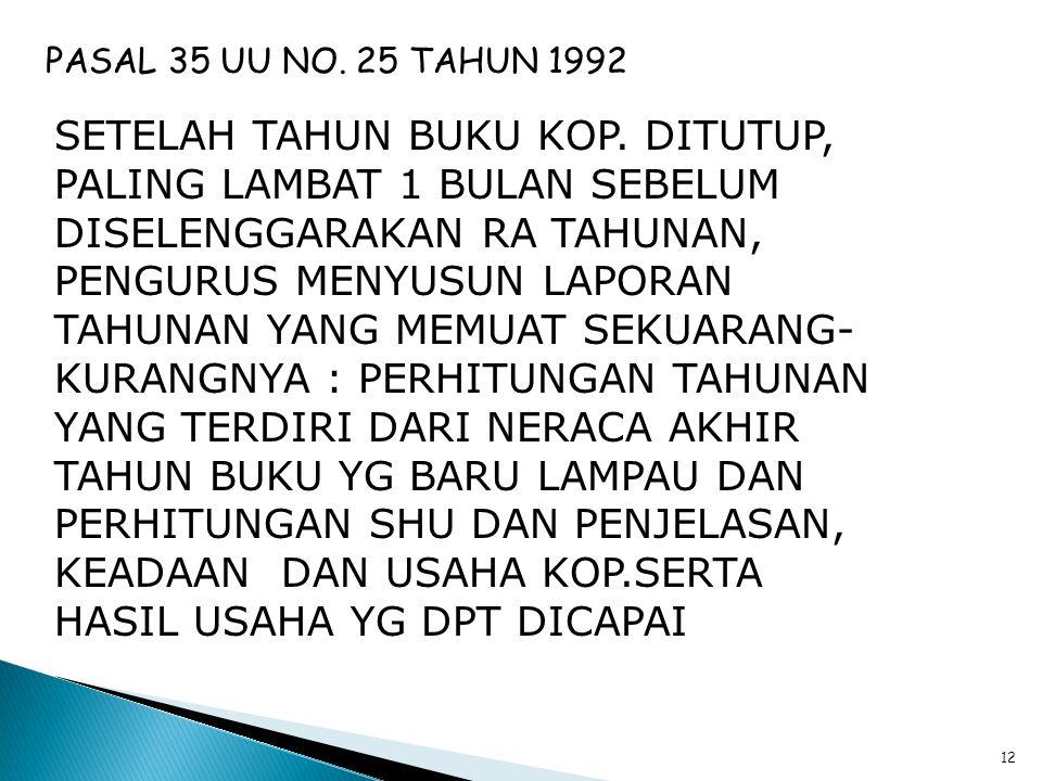 11 PASAL 34 UU NO. 25 TAHUN 1992 1.PENGURUS BAIK BERSAMA-SAMA MAUPUN SENDIRI-SENDIRI, MENANGGUNG KERUGIAN YANG DIDERITA KOP., KARENA TINDAKAN YG DILAK
