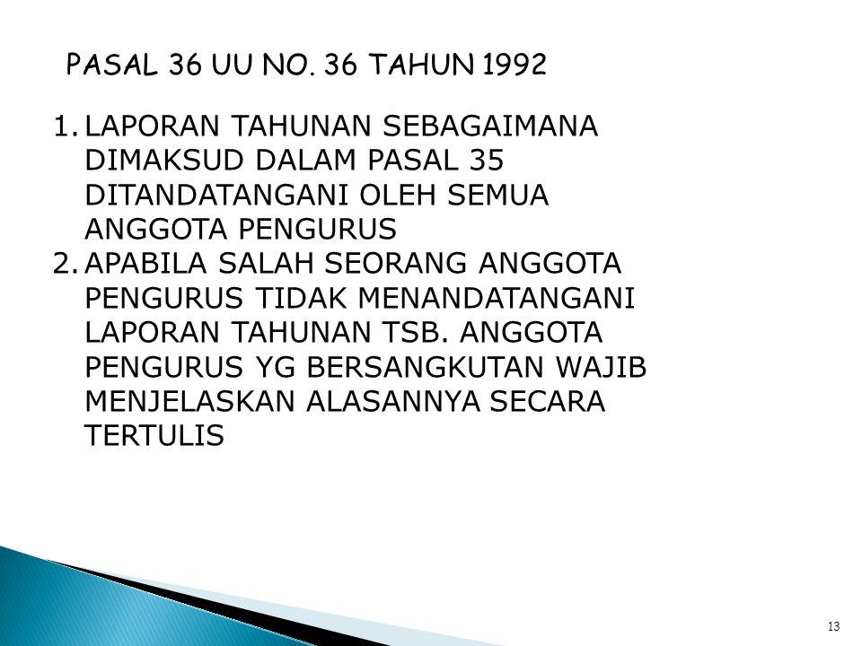 12 PASAL 35 UU NO. 25 TAHUN 1992 SETELAH TAHUN BUKU KOP. DITUTUP, PALING LAMBAT 1 BULAN SEBELUM DISELENGGARAKAN RA TAHUNAN, PENGURUS MENYUSUN LAPORAN