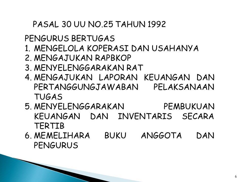 5 PASAL 29 UU NO. 25 TAHUN 1992 1.PENGURUS DIPILIH DARI DAN OLEH ANGGOTA KOPERASI DALAM RAPAT ANGGOTA ( DIAJUKAN OLEH PENGAWAS UU NO.17/2012 ) 2.PENGU