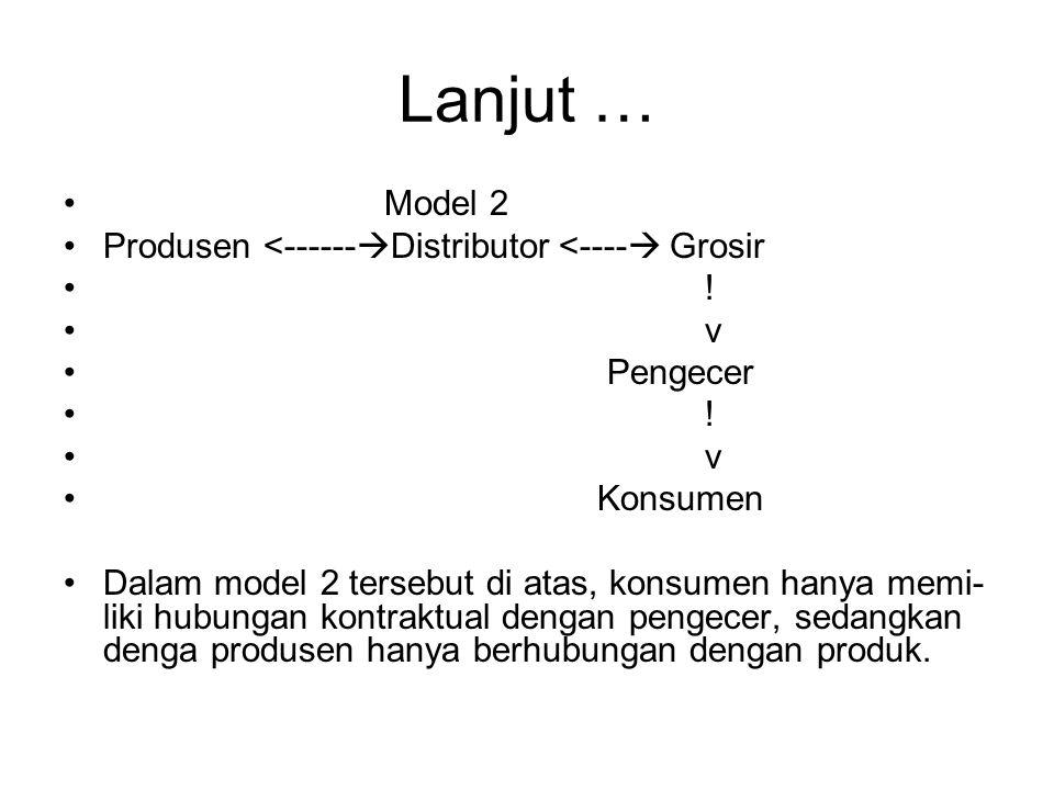 Lanjut … Model 2 Produsen <------  Distributor <----  Grosir ! v Pengecer ! v Konsumen Dalam model 2 tersebut di atas, konsumen hanya memi- liki hub
