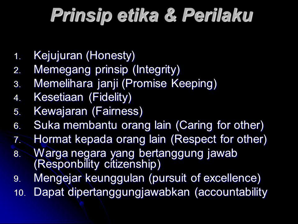 Prinsip etika & Perilaku 1. Kejujuran (Honesty) 2. Memegang prinsip (Integrity) 3. Memelihara janji (Promise Keeping) 4. Kesetiaan (Fidelity) 5. Kewaj