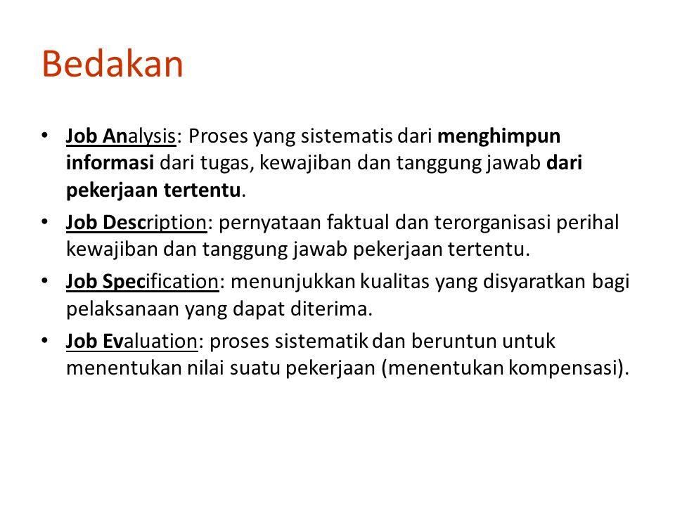 Bedakan Job Analysis: Proses yang sistematis dari menghimpun informasi dari tugas, kewajiban dan tanggung jawab dari pekerjaan tertentu.