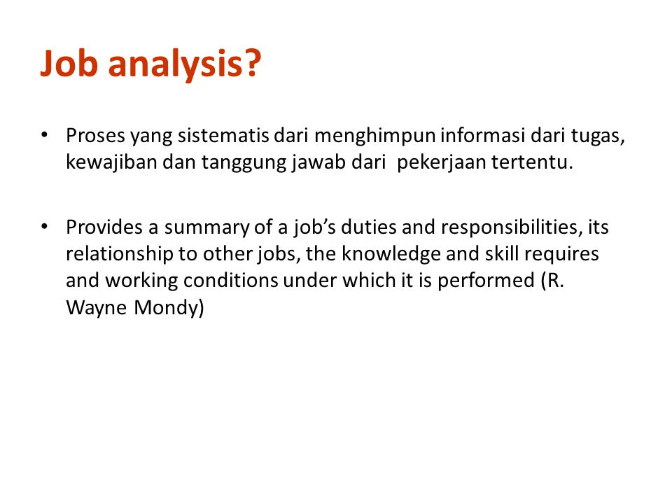 Job analysis.