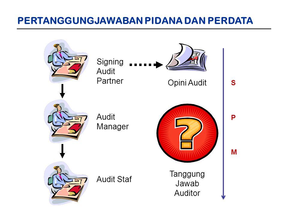 Signing Audit Partner Audit Manager Audit Staf Opini Audit Tanggung Jawab Auditor PERTANGGUNGJAWABAN PIDANA DAN PERDATA SPMSPM