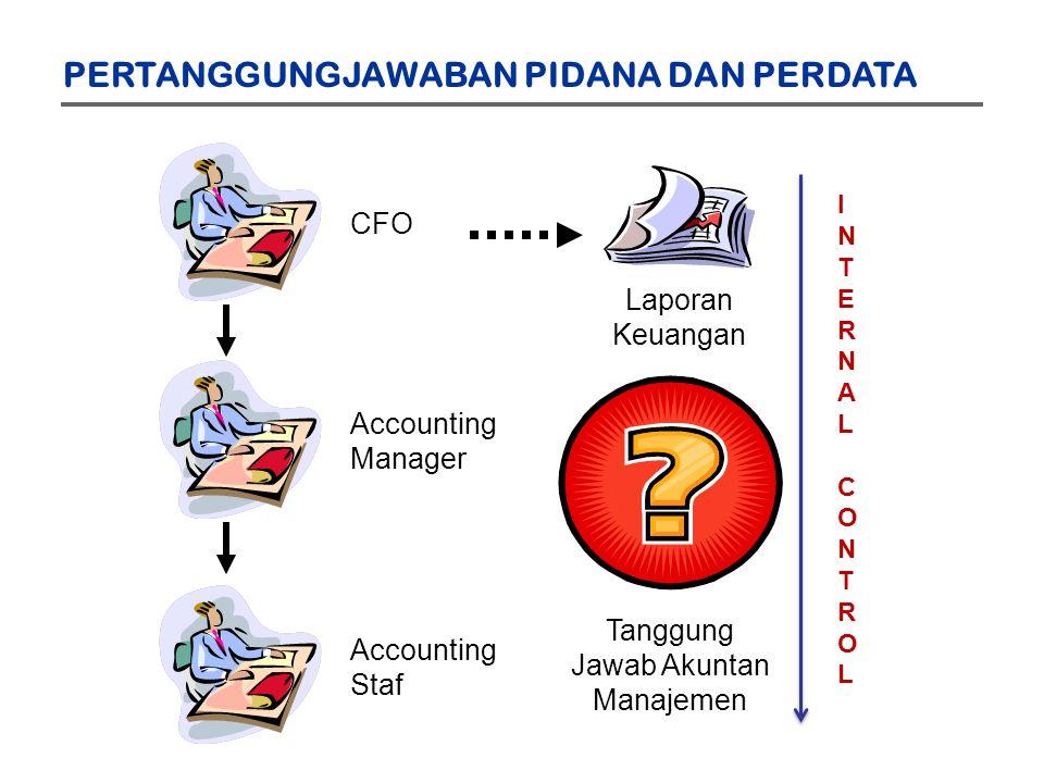 CFO Accounting Manager Accounting Staf Laporan Keuangan Tanggung Jawab Akuntan Manajemen PERTANGGUNGJAWABAN PIDANA DAN PERDATA INTERNALCONTROLINTERNALCONTROL