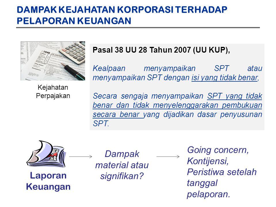 Kejahatan Perpajakan Pasal 38 UU 28 Tahun 2007 (UU KUP), Kealpaan menyampaikan SPT atau menyampaikan SPT dengan isi yang tidak benar, Secara sengaja menyampaikan SPT yang tidak benar dan tidak menyelenggarakan pembukuan secara benar yang dijadikan dasar penyusunan SPT.