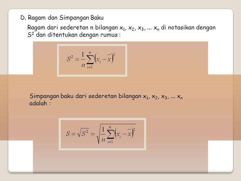D. Ragam dan Simpangan Baku Ragam dari sederetan n bilangan x 1, x 2, x 3,... x n di notasikan dengan S 2 dan ditentukan dengan rumus : Simpangan baku