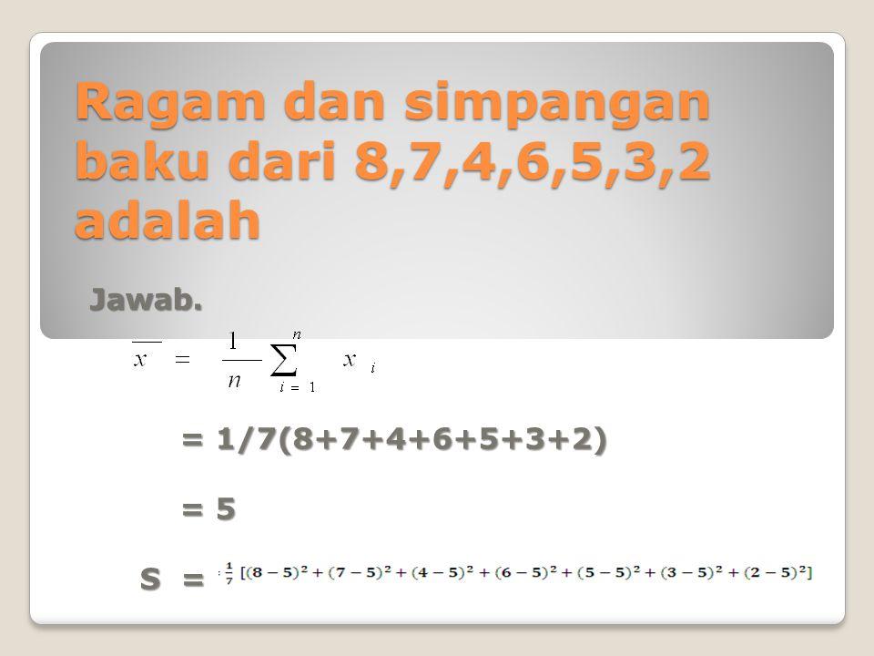 Ragam dan simpangan baku dari 8,7,4,6,5,3,2 adalah Jawab. = 1/7(8+7+4+6+5+3+2) = 1/7(8+7+4+6+5+3+2) = 5 = 5 S = S =