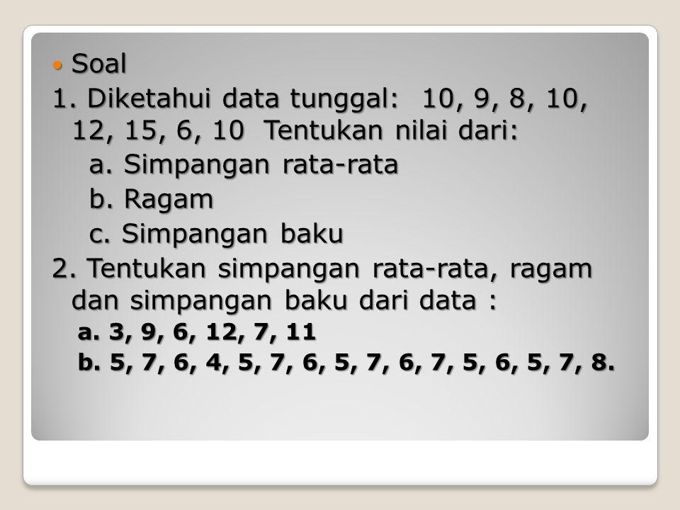 1)Tenntukan nilai rata2 hitung, median dan modus dari data 2,3,4,4,4,5,6,6,6,6,7,8 2)Dari data 15,7,13,11,16,10,13,9,8,10,16.