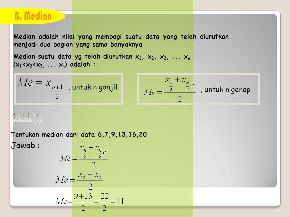 Modus adalah data yang sering muncul Tentukan modus dari 3,4,5,5,5,6,7 Mo = 5 Tentukan modus dari 6,6,7,7,8,8,9,10 Jawab : Mo = 6,7 dan 8 Tentukan modus dari 5,5,7,7,9,9 Jawab : Mo = tidak ada