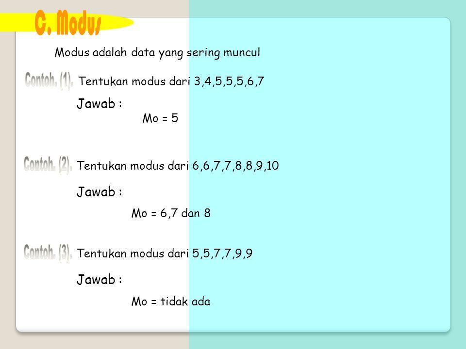 Modus adalah data yang sering muncul Tentukan modus dari 3,4,5,5,5,6,7 Mo = 5 Tentukan modus dari 6,6,7,7,8,8,9,10 Jawab : Mo = 6,7 dan 8 Tentukan mod