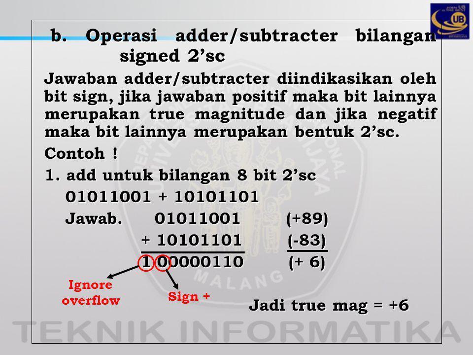 b.Operasi adder/subtracter bilangan signed 2'sc b.