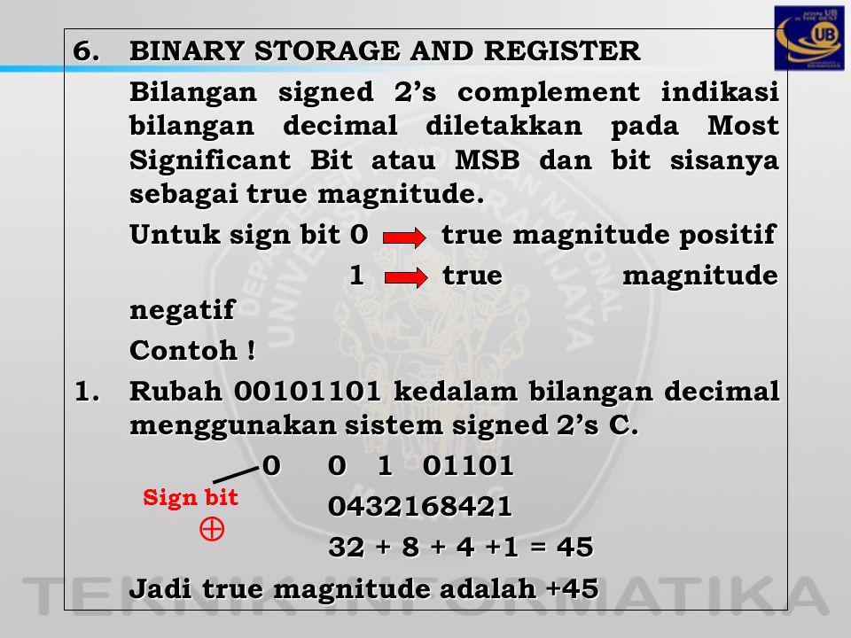 6. BINARY STORAGE AND REGISTER Bilangan signed 2's complement indikasi bilangan decimal diletakkan pada Most Significant Bit atau MSB dan bit sisanya