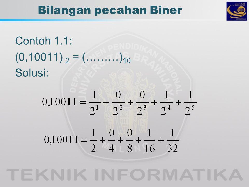 Bilangan pecahan Biner Contoh 1.1: (0,10011) 2 = (………) 10 Solusi: