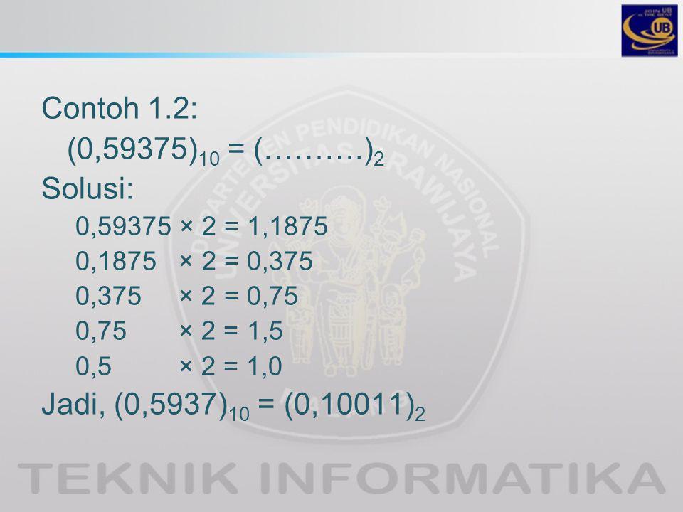 Contoh 1.2: (0,59375) 10 = (……….) 2 Solusi: 0,59375 × 2 = 1,1875 0,1875 × 2 = 0,375 0,375 × 2 = 0,75 0,75 × 2 = 1,5 0,5 × 2 = 1,0 Jadi, (0,5937) 10 = (0,10011) 2