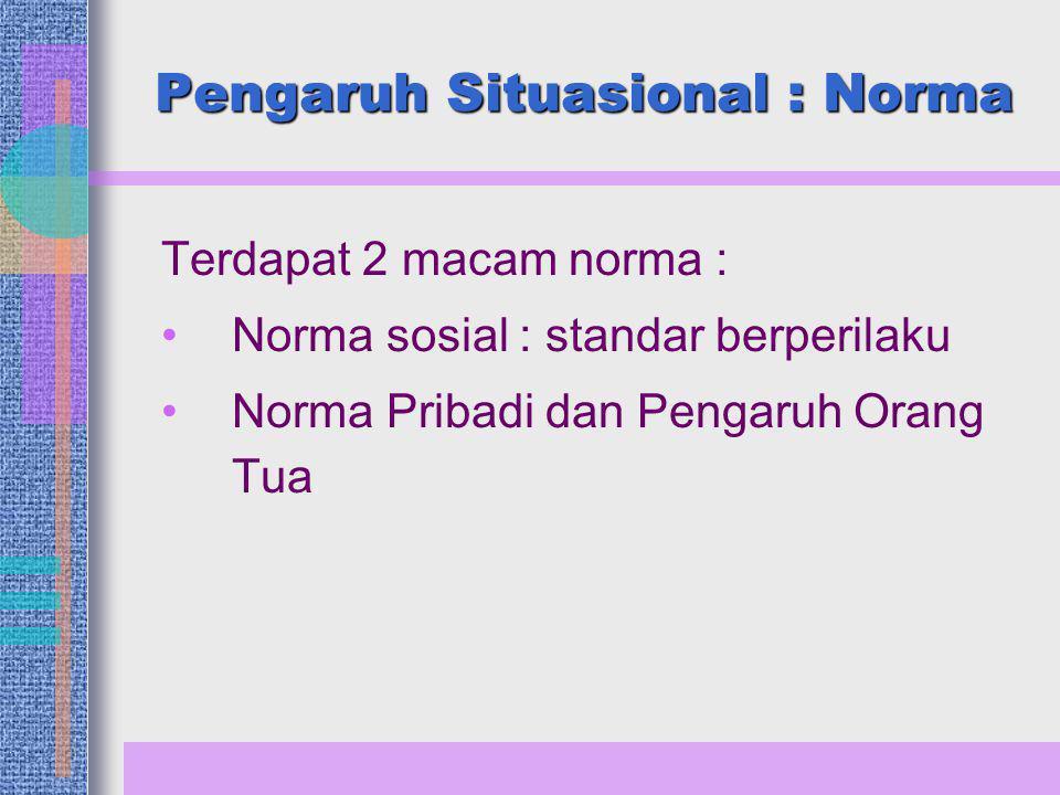Terdapat 2 macam norma : Norma sosial : standar berperilaku Norma Pribadi dan Pengaruh Orang Tua Pengaruh Situasional : Norma