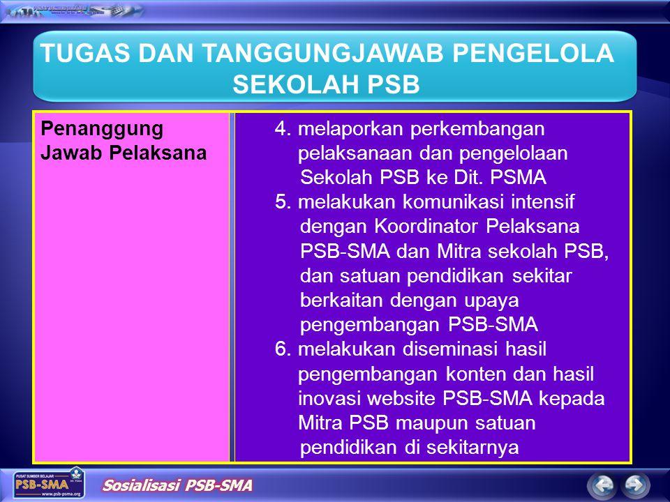 4. melaporkan perkembangan pelaksanaan dan pengelolaan Sekolah PSB ke Dit. PSMA 5. melakukan komunikasi intensif dengan Koordinator Pelaksana PSB-SMA