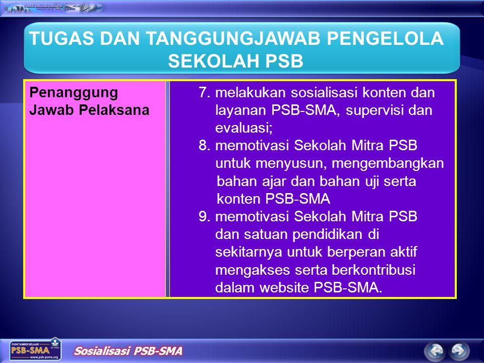 7.melakukan sosialisasi konten dan layanan PSB-SMA, supervisi dan evaluasi; 8.