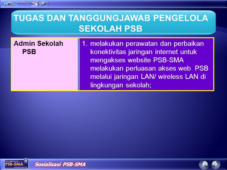 1.melakukan perawatan dan perbaikan konektivitas jaringan internet untuk mengakses website PSB-SMA melakukan perluasan akses web PSB melalui jaringan
