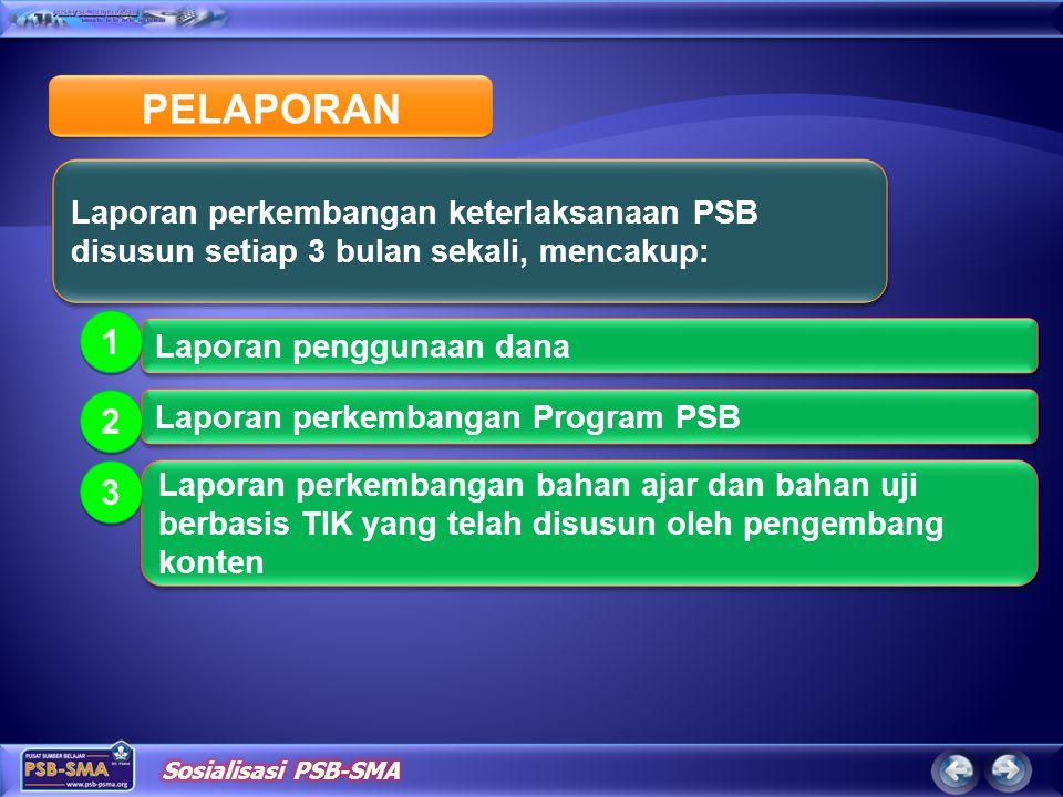 PELAPORAN Laporan penggunaan dana 1 1 Laporan perkembangan Program PSB 2 2 Laporan perkembangan bahan ajar dan bahan uji berbasis TIK yang telah disus