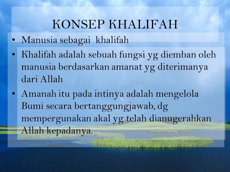KONSEP KHALIFAH Manusia sebagai khalifah Khalifah adalah sebuah fungsi yg diemban oleh manusia berdasarkan amanat yg diterimanya dari Allah Amanah itu