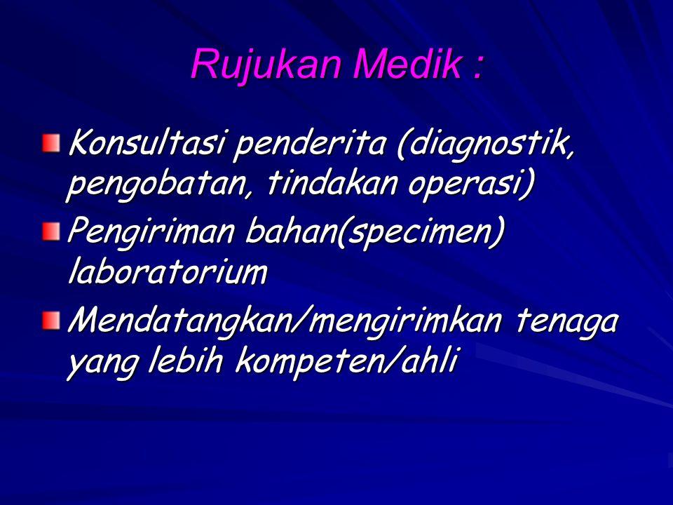 Rujukan Medik : Konsultasi penderita (diagnostik, pengobatan, tindakan operasi) Pengiriman bahan(specimen) laboratorium Mendatangkan/mengirimkan tenag