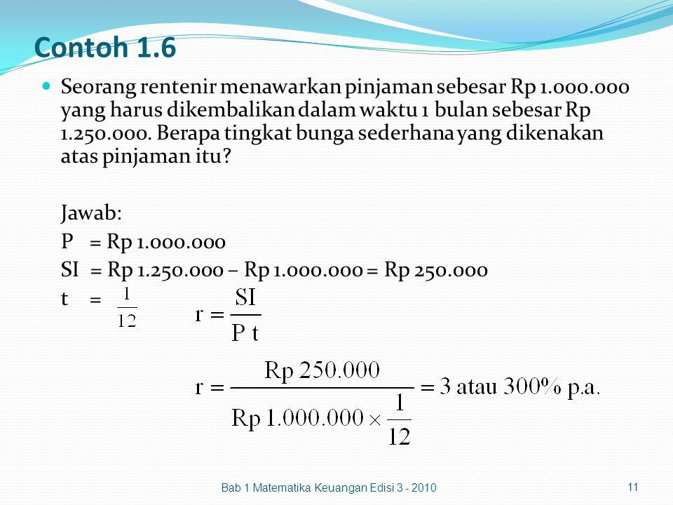 Contoh 1.6 Seorang rentenir menawarkan pinjaman sebesar Rp 1.000.000 yang harus dikembalikan dalam waktu 1 bulan sebesar Rp 1.250.000. Berapa tingkat