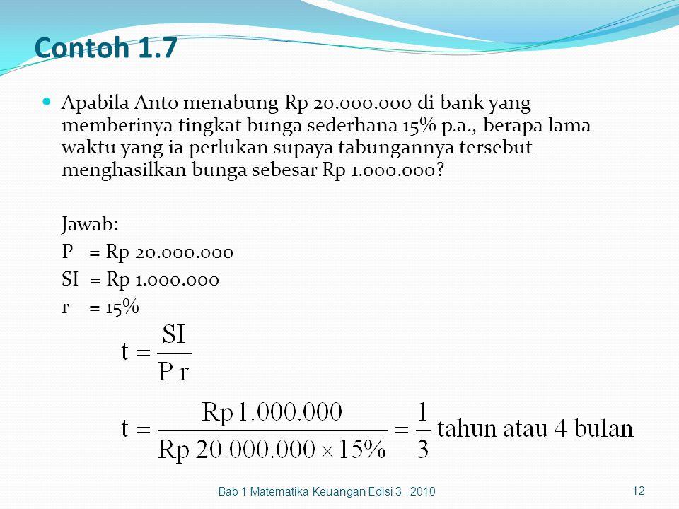 Contoh 1.7 Apabila Anto menabung Rp 20.000.000 di bank yang memberinya tingkat bunga sederhana 15% p.a., berapa lama waktu yang ia perlukan supaya tab