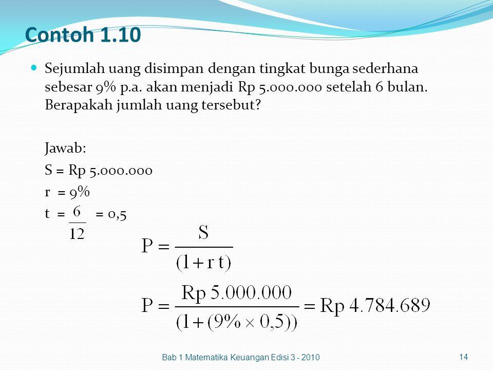 Contoh 1.10 Sejumlah uang disimpan dengan tingkat bunga sederhana sebesar 9% p.a. akan menjadi Rp 5.000.000 setelah 6 bulan. Berapakah jumlah uang ter