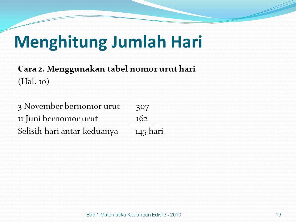 Menghitung Jumlah Hari Cara 2. Menggunakan tabel nomor urut hari (Hal. 10) 3 November bernomor urut307 11 Juni bernomor urut162 Selisih hari antar ked