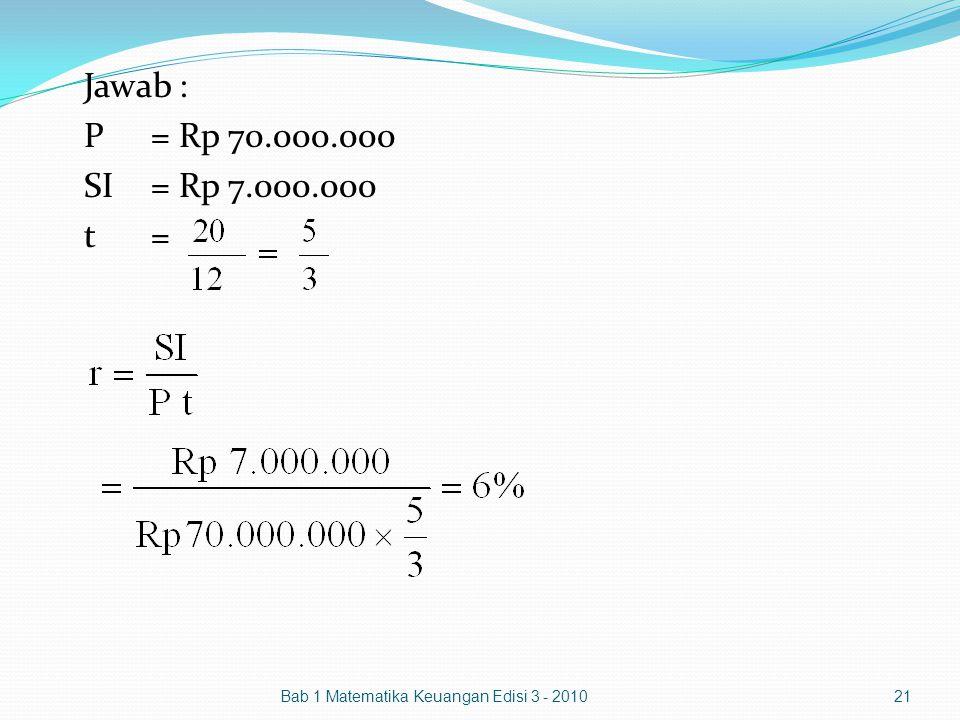 Jawab : P= Rp 70.000.000 SI= Rp 7.000.000 t= Bab 1 Matematika Keuangan Edisi 3 - 2010 21