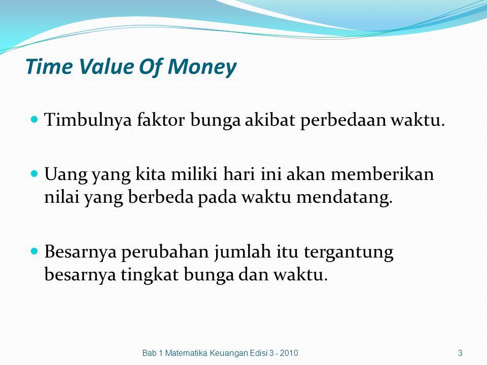 Time Value Of Money Timbulnya faktor bunga akibat perbedaan waktu. Uang yang kita miliki hari ini akan memberikan nilai yang berbeda pada waktu mendat